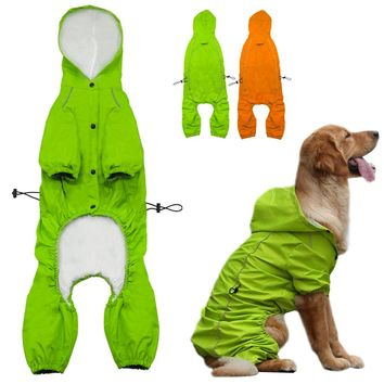 Pet Dog Hooded Raincoat for Medium to Large Dogs Reflective Dog Waterproof  Rain Coat Jacket For Golden Retriever Labrador S-XL