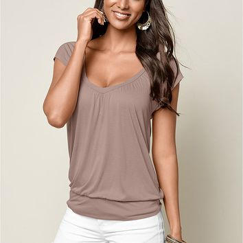 Relaxed V-Neck Top in Taupe | VENUS