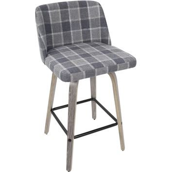 Toriano Mid-Century Modern Counter Stool with Blue Plaid, Light Grey