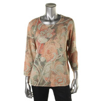 Alfred Dunner Womens Metallic Floral Print Pullover Sweater