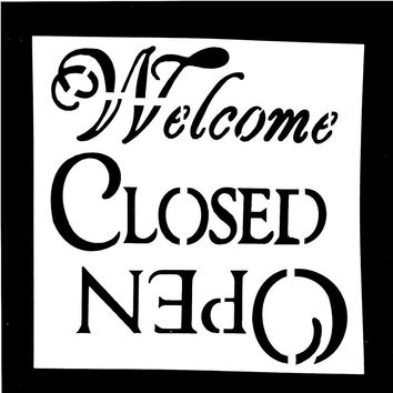 1PC Welcome Close Open Letter Reusable Stencil Airbrush Painting Art DIY Home Decor Scrap booking Album Crafts