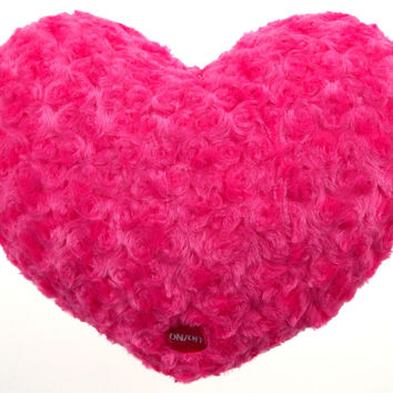 "Pink Heart Plush Throw Pillow Multi Color LED Light Up Flash 13"" Microbeads"