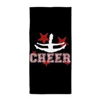 Cheer Black Red Beach Towel by designsbyalexh