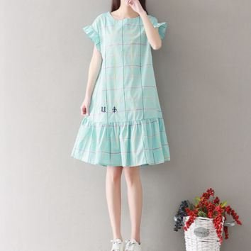 ROUND NECKLACE STYLE SUB-COTTON AND LINEN WRINKLED DRESS TIDE