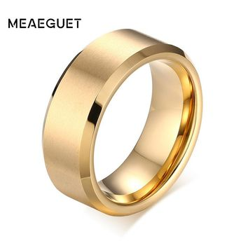 Meaeguet 8mm Wide Solid Gold-color Tungsten Wedding Rings For Men Jewelry High Quality Tungsten Carbide Rings Wedding Bands