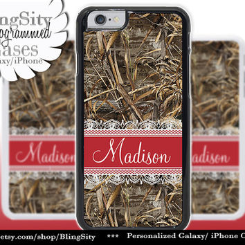 Camo Red Monogram iPhone 5C 6 Case Plus Lace iPhone 5s 4 case Ipod Hunting Realtree Custom Name Personalized Country Inspired Girl