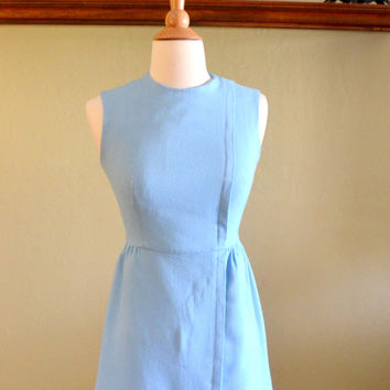 Vintage Lanz Mini Dress, Light Blue Linen, Sleeveless Spring Dress, Pleated Bodice and Skirt, circa 1960s