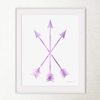 Lavender Purple wall art, Arrow print, Purple art print, Arrows wall print, Crossed arrows art, Printable wall art, Tribal arrows Wall decor