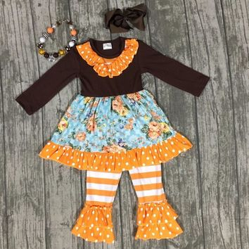 baby girls thanksgiving outfit kids Fall boutique clothes girls floral clothing orange stripe ruffle pants with accessories