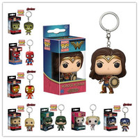 Superheros Funko Pop Keychain Toy Wonder Women,action toy figures spiderman captain america doctor who dead pool harry