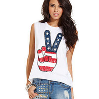 Material Girl Juniors Top, Sleeveless Graphic Muscle Tee - Juniors Material Girl Tops - Macy's