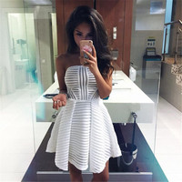 2016 Summer Paragraph women new hollow Bra Pompon Dress