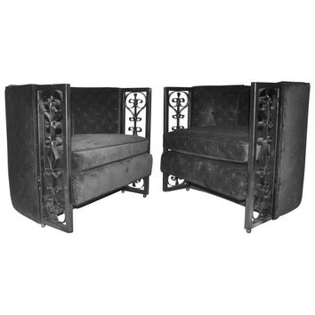 Pre-owned Mid-Century Spanish Revival Iron Arm Chairs