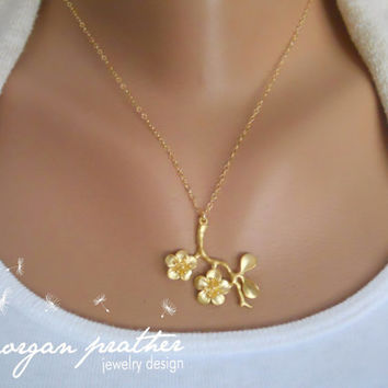 Cherry Blossom Branch Necklace in Gold - Tree Branch Charm - Flower - Gold Filled Fine Cable Chain - Perfect Gift - morganprather