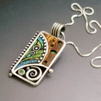 Silver and Polymer Pendant with Iridescent by LizardsJewelry