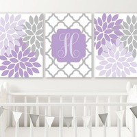 Purple Gray Nursery Wall Art, Flower Lilac Lavender Nursery Decor, CANVAS or Print, Lilac Gray Girl Monogram Initial Pictures, Set of 3 Art