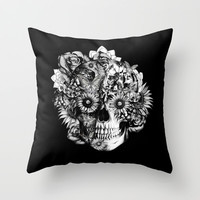 Floral Ohm skull from hand and digital illustration. Throw Pillow by Kristy Patterson Design | Society6