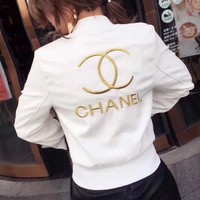 One-nice™ CHANEL Embroidery Leather Long Sleeve Cardigan Jacket Coat White
