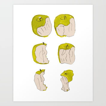 Eating process (Apple) // watercolor apple consumption Art Print by Camila Quintana S