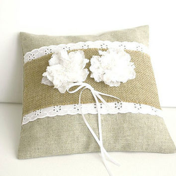 Wedding Ring Bearer Pillow , Shabby chic , Linen , Beige White Lace Bridal accessory , fabric flowers marriage spring summer wedding rustic