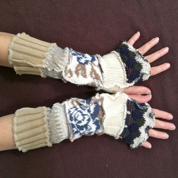 Upcycled Fingerless Gloves Pastel Cream Tan Green Armwarmers Recycled Wrist warmers Stripe Gloves Knit Gloves Fingerless Mittens