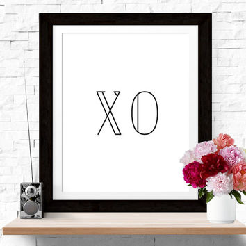 50% OFF SALE Typographic Print 'XO' Wall Art Print Scandinavian Design Black White Poster Hugs and Kisses Wall Decor Inspirational Quote Art