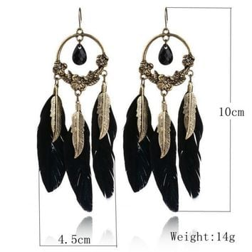 1 Pair Fashion Women Ladies Earrings Vintage Feather Long Drop Earrings