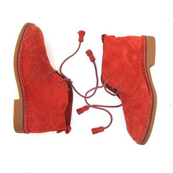 Suede CHUKKA Boots Salmon Orange Lace Up Leather Ankle Boots 90s Vintage Leather Booties Boho Hipster Tassel Boots Womens Fall Boots Size 8