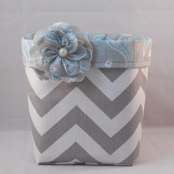 Gray and White Chevron Fabric Basket With Blue Paisley Liner And Detachable Fabric Flower Pin For Storage Or Gift Giving