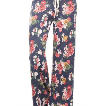 Navy Floral Sweat Pants