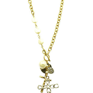 NECKLACE / TWO TONE / METAL CROSS CHARM / HAMMERED / TEXTURED LINK / PEARL / CHAIN / TOGGLE CLOSURE / 22 INCH LONG / 4 INCH DROP / NICKEL AND LEAD COMPLIANT