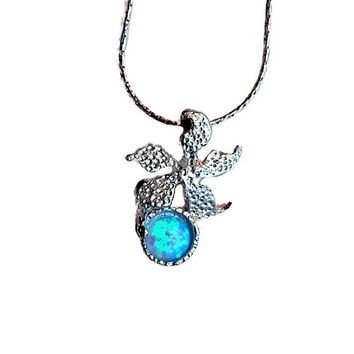 Sea star necklace, Opal necklace, Blue opal necklace, Starfish, Necklace for women, Opal for women, Handmade opal necklace, Gift necklace