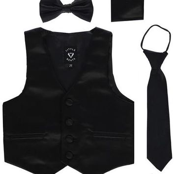 Black Satin Boys 4-pc Vest Set w. Ties & Pocket Square 3M-14