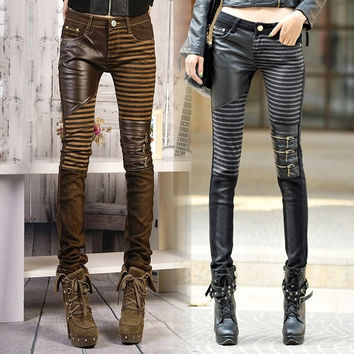 High quality PU leather jeans for women 2015 fashion Casual pants feet Denim jeans for woman pencil pants big size black = 1930104132