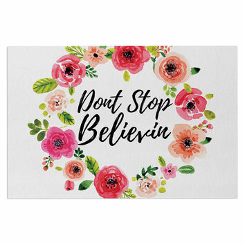 "KESS Original ""Don't Stop Believin"" Coral White Decorative Door Mat"