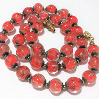 Venetian Sommerso Glass Bead Necklace, Murano Red Art Glass Beads  Mid Century Italian Bead Necklace, Vintage Necklace 518