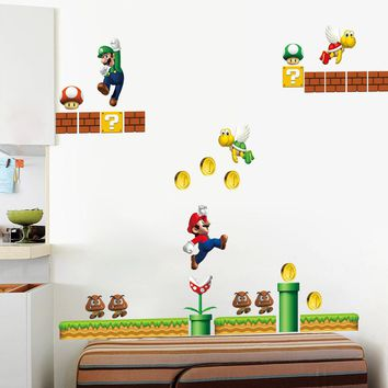 classical game super mario wall stickers for kids room home decor zooyoo1444 cartoon mural art playroom diy nursery wall decals