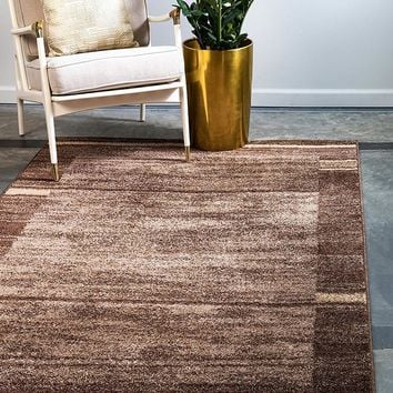 0150 Brown Warm Toned Contemporary Area Rugs