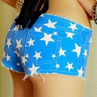 Stars Distressed Low-waisted Shorts