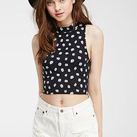 Mock Neck Daisy Print Top