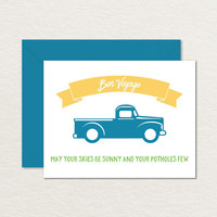 Bon Voyage Card / Sunny Skies Truck A2 Printable Greeting Card / Farewell Card / Goodbye Card