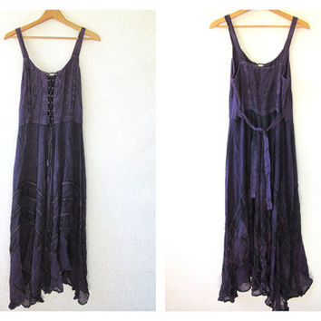 20% OFF SALE vintage sun dress. dark purple embroidered maxi dress. Festival dress. Hippie Boho wedding dress