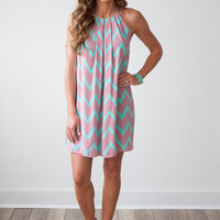 Good Vibes Front Pleated Chevron Trapeze Dress - Jade