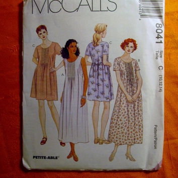 Sale Uncut 1996 McCall's Sewing Pattern, 8041! 10-12-14 Sml/Medium/Women's/Misses/Petite-able/Pullover Dress/Sleeveless/Short Sleeve/Long Sl