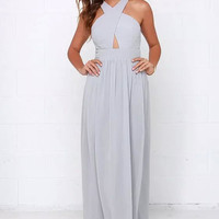 Gray Cross Strap Backless Sleeveless Cutout Maxi Dress