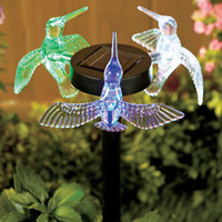 3 Sided Hummingbirds Solar Powered Light Yard Garden Stakes Pathway Flowerbed