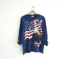 Vintage blue Grunge shirt. USA long sleeve. Bald Eagle. USA flag shirt