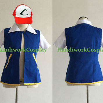 Pokemon Cosplay Ash Ketchum Costume Blue Jacket With Hat Custom Any size