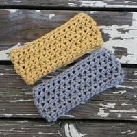 Gray and Mustard Ear Warmers Set of Two Headband Head Warmer Teen Women's Accessories