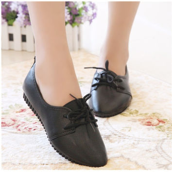 Big Sale New Summer Autumn Vintage Women Faux Leather Flats Lace Up Pointy Toe Casual Dress Formal Oxfords Shoes Size 37-40